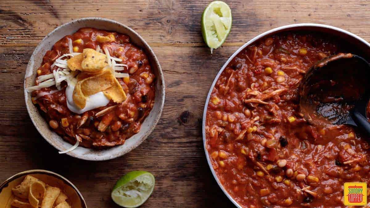 Serving Mexican chili recipe