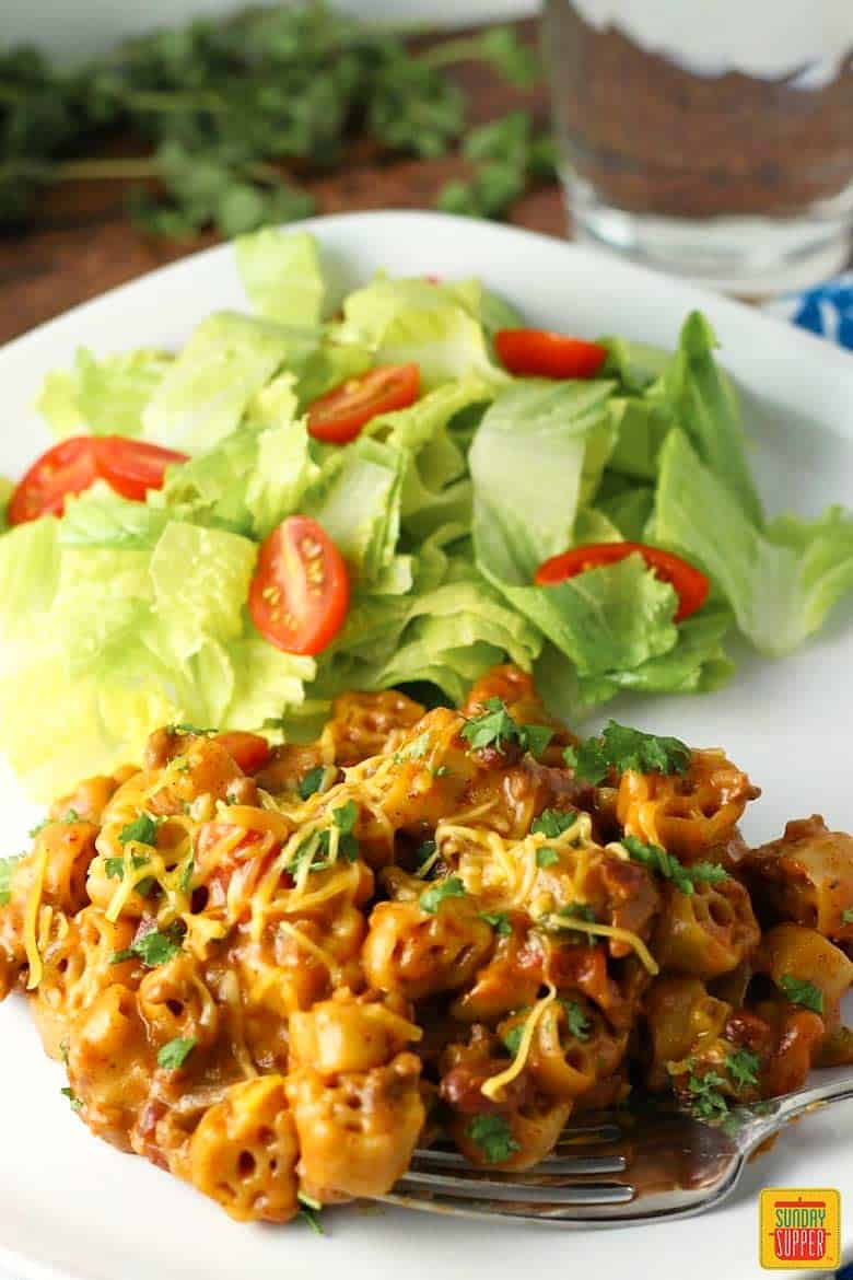 Plate of chili mac recipe and salad