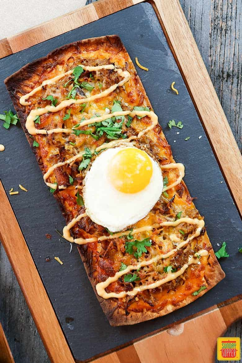 Complete pulled pork flatbread pizza