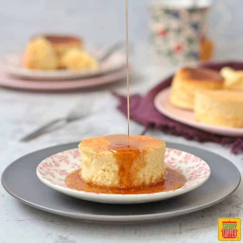 Valentine's Dinner Ideas: Fluffy Japanese Pancake on a plate with syrup