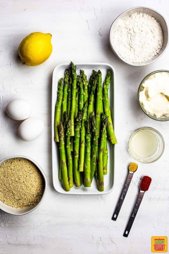 Asparagus on a platter for asparagus fries