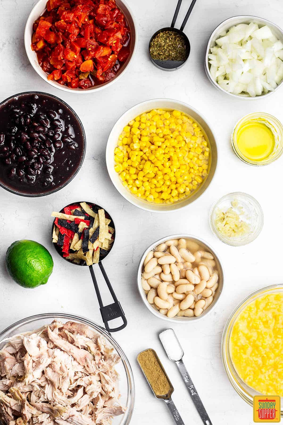 Ingredients for easy chicken tortilla soup recipe