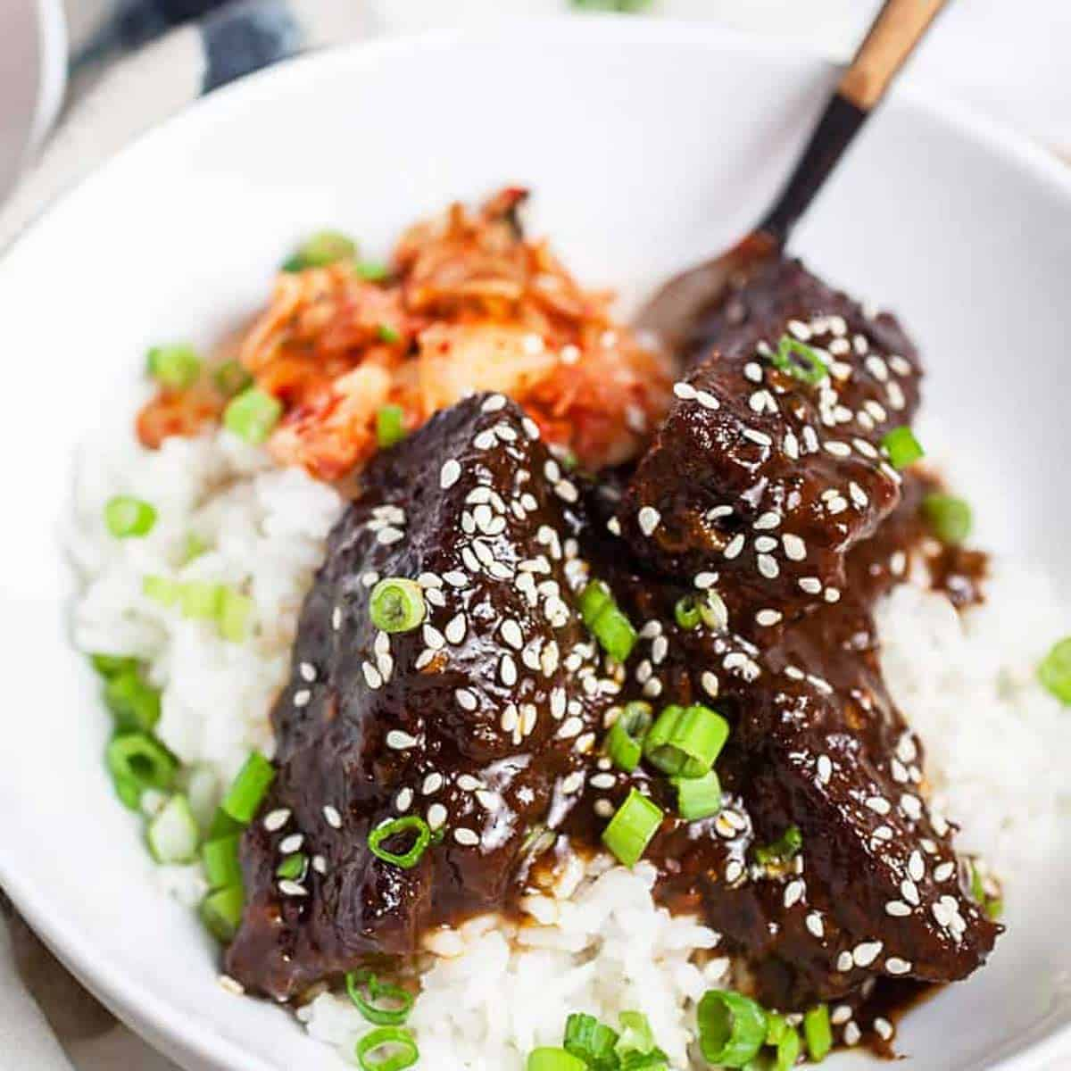 Korean braised short ribs on a white plate with rice and a fork