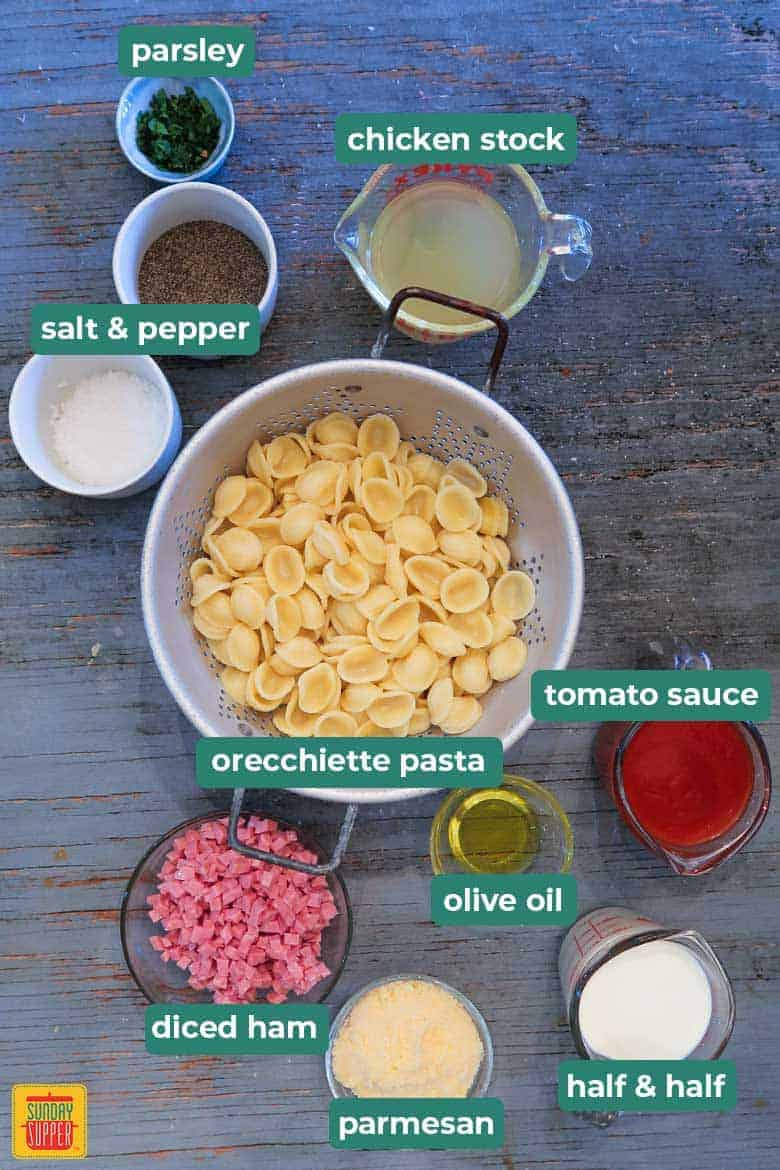 ingredients for Orecchiette pasta on table
