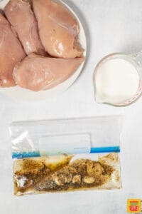 Chicken marinade in a plastic bag