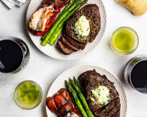 Simple Dinner Ideas for Two: Two plates of air fryer steak and fried lobster tail
