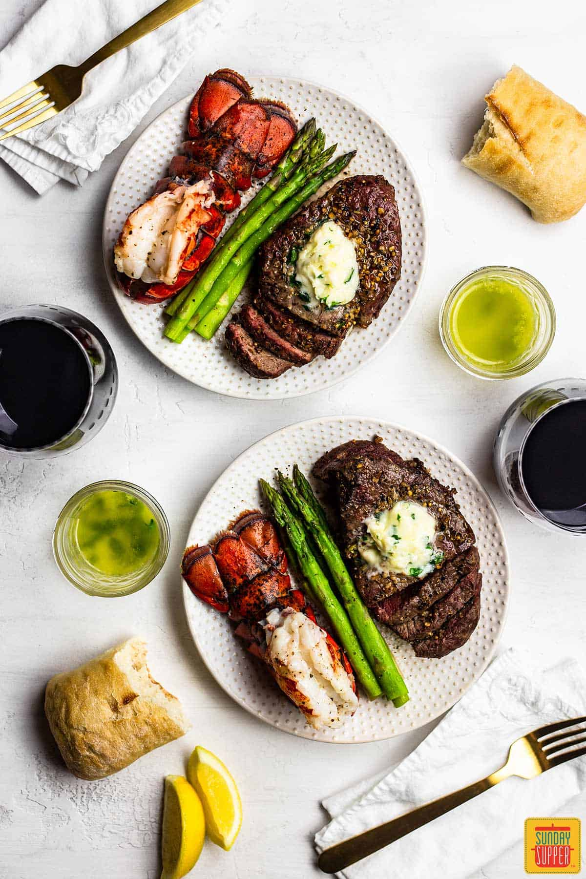 Simple dinner ideas for two: air fryer surf and turf on two plates