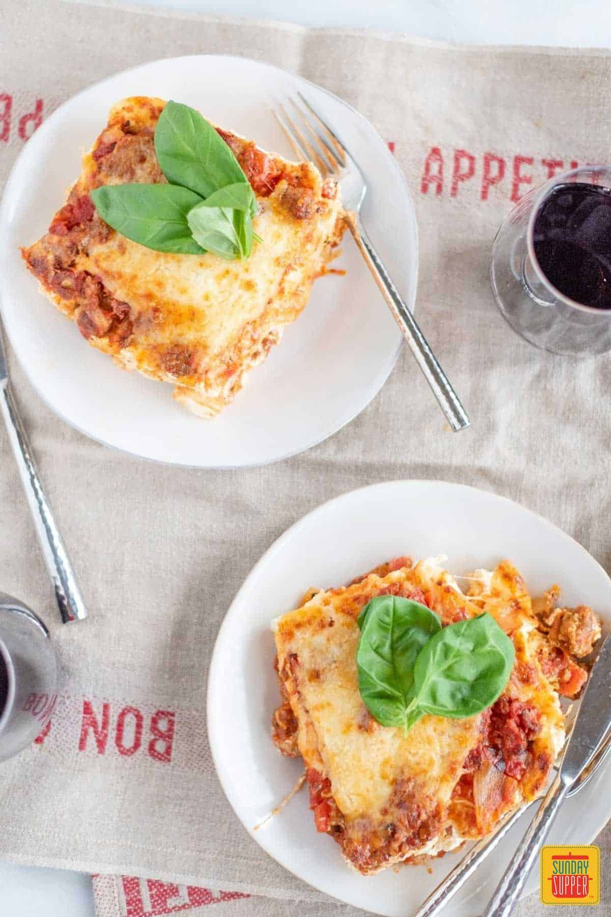 Simple dinner ideas for two: two plates of lasagna