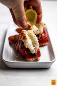 Squeezing lemon onto an air fryer fried lobster tail