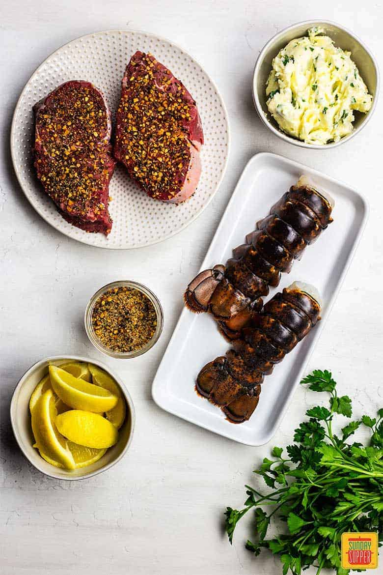 Ingredients for surf and turf recipe on table