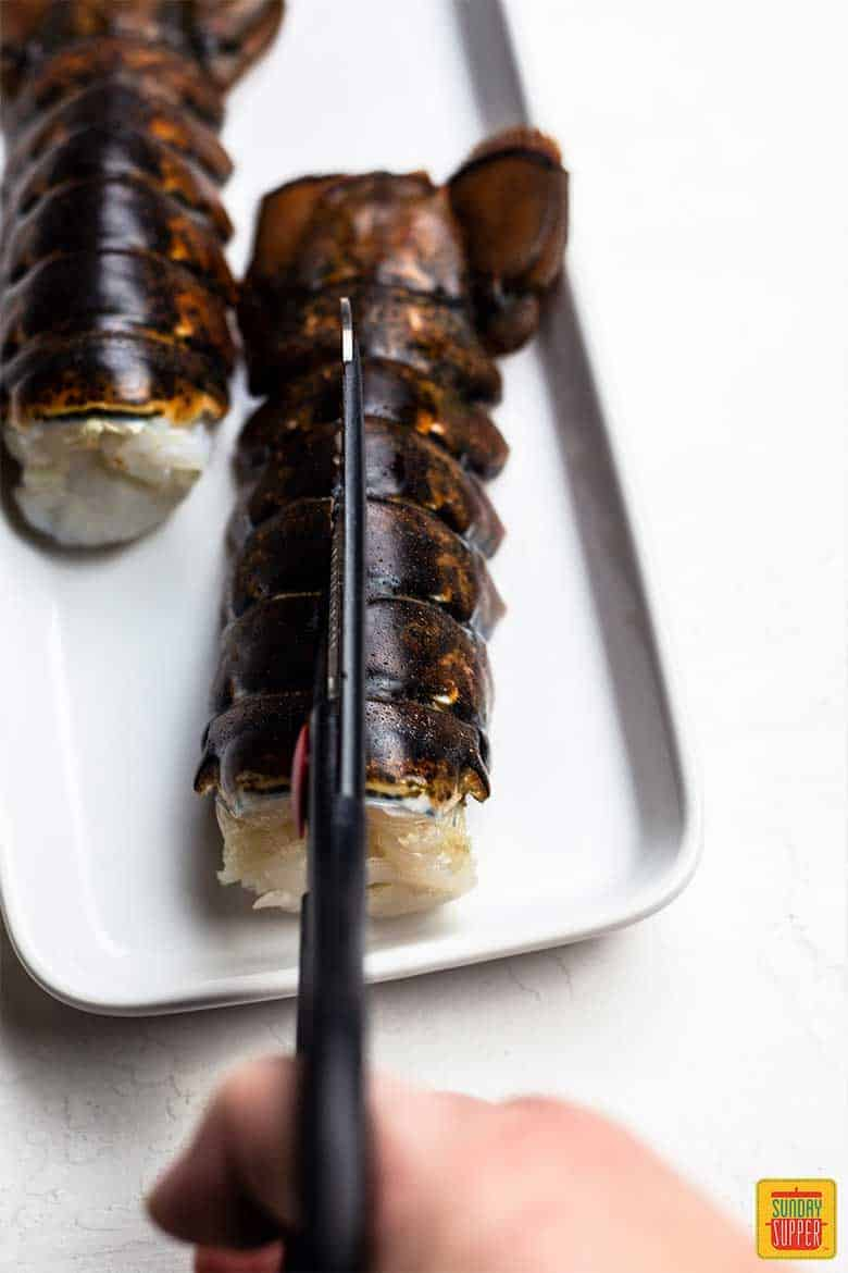 Butterflying lobster tails for fried lobster tails