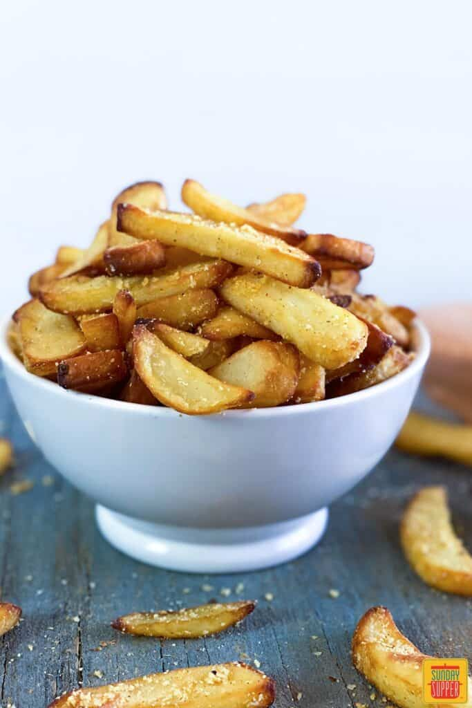 Close up of fries in a bowl for air fryer fries recipe