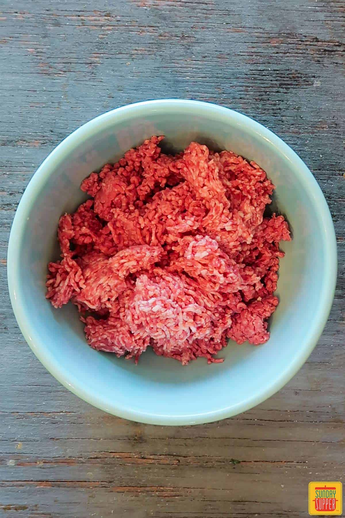 Ground beef and pork in a bowl