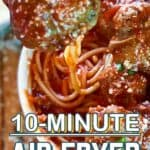 air fryer meatballs pin image