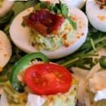 Avocado deviled eggs pin image