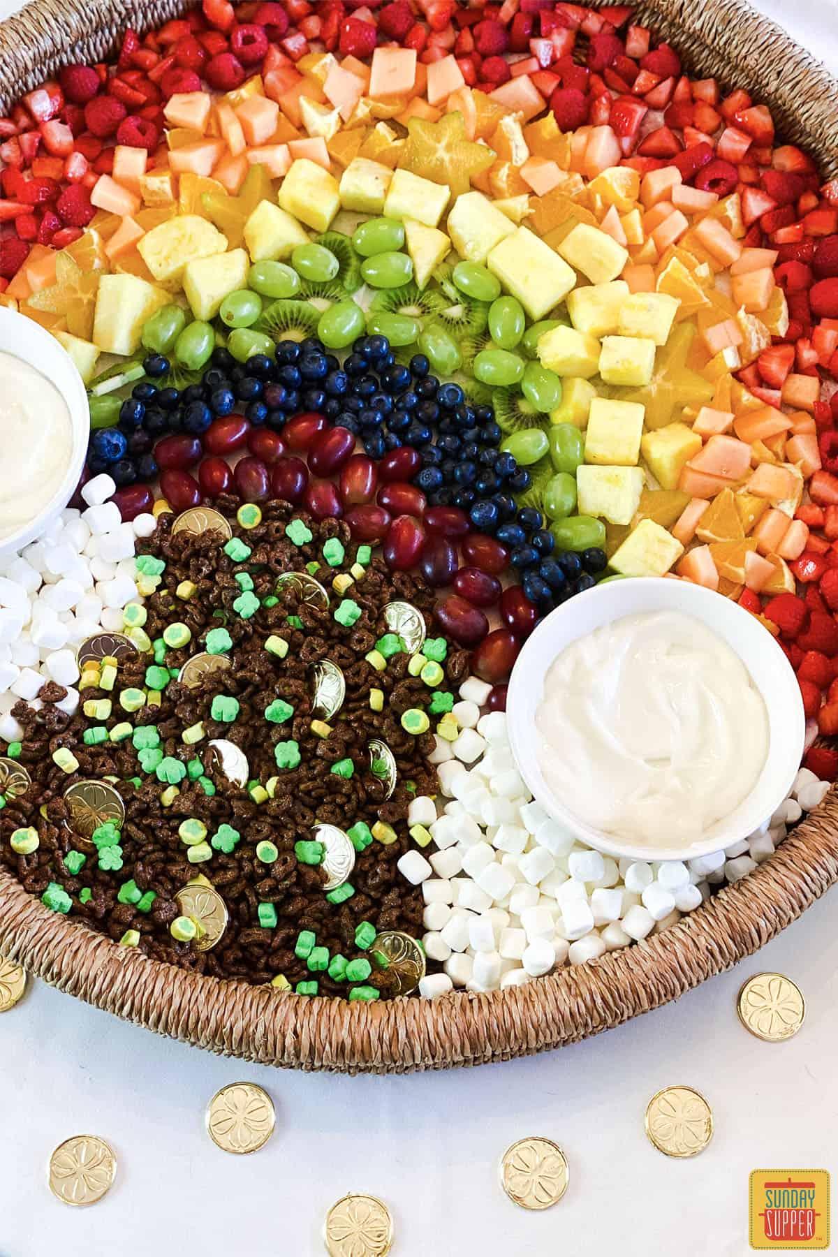 Rainbow charcuterie board with yogurt