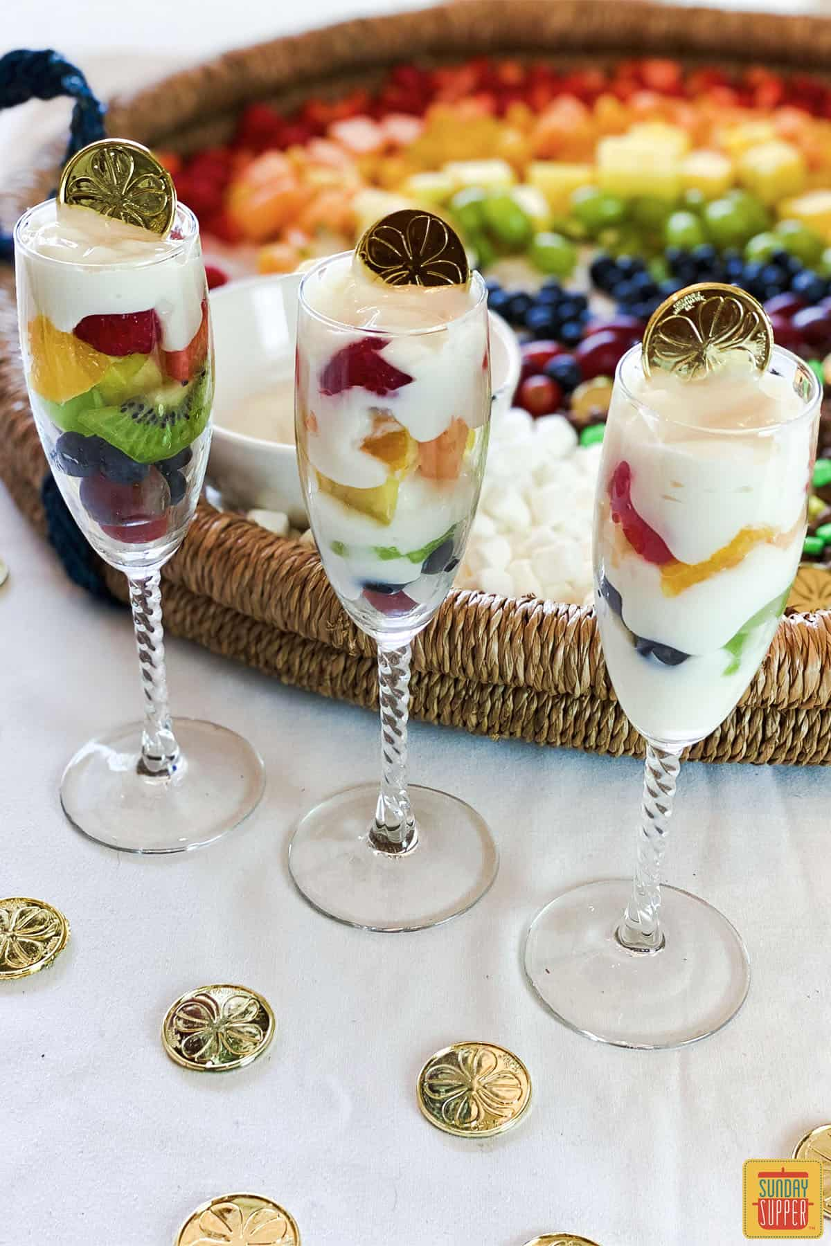 Three glasses of fruit and yogurt parfait