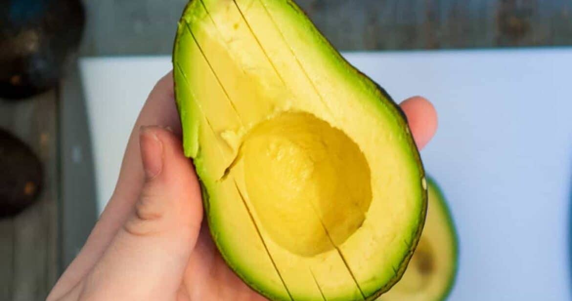 Slices in an avocado half