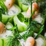 cucumber canapes with shrimp pin image