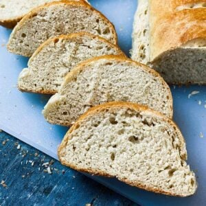 close up of four slices of instant pot bread recipe