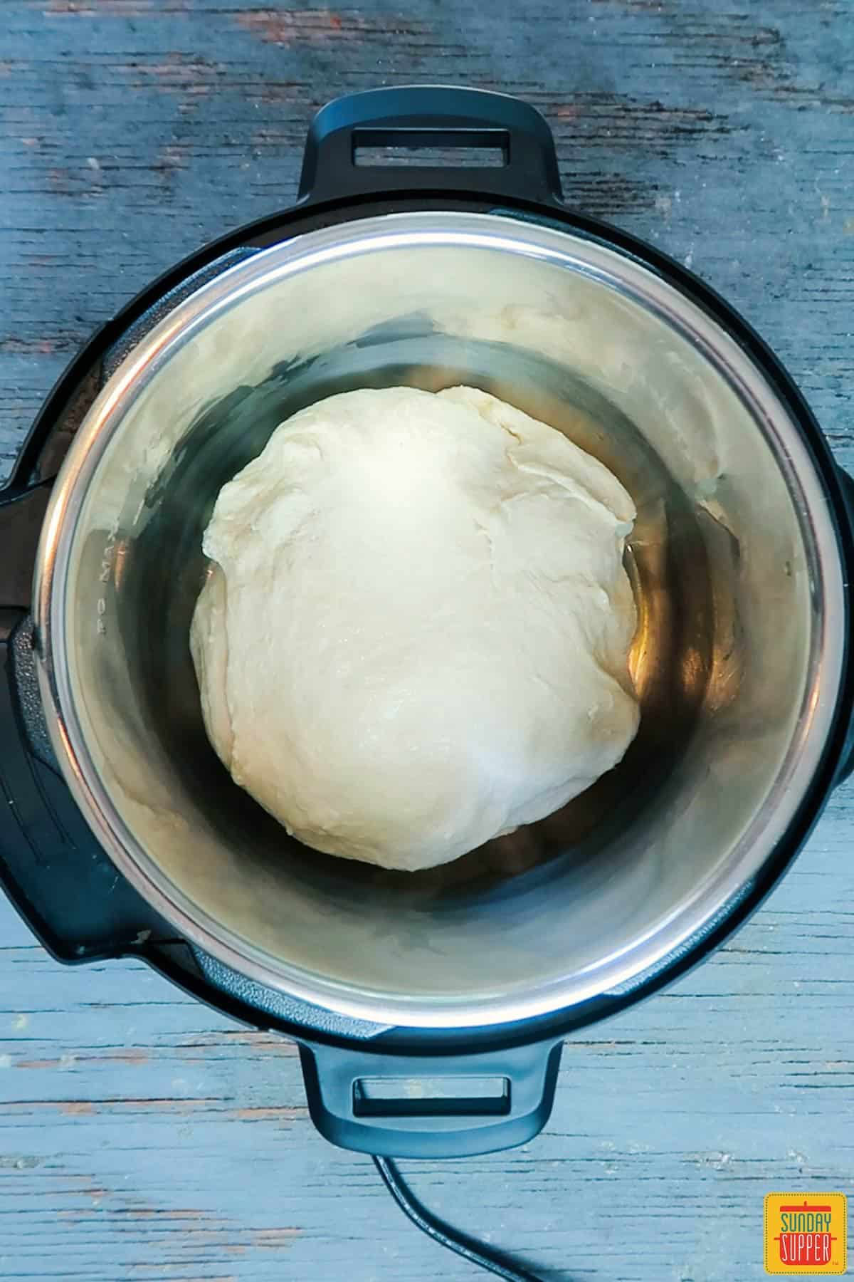 dough for instant pot bread recipe in pot