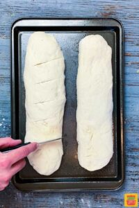 cutting lines into instant pot french bread dough