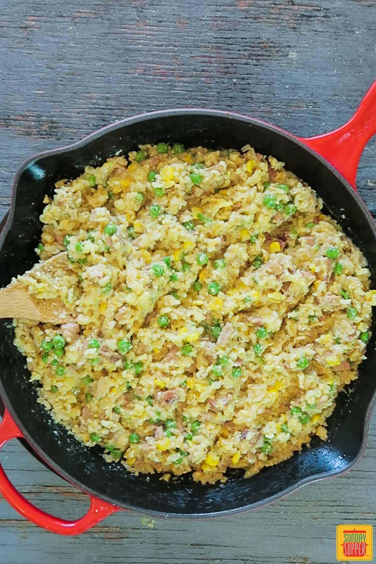 Complete pork fried rice in skillet