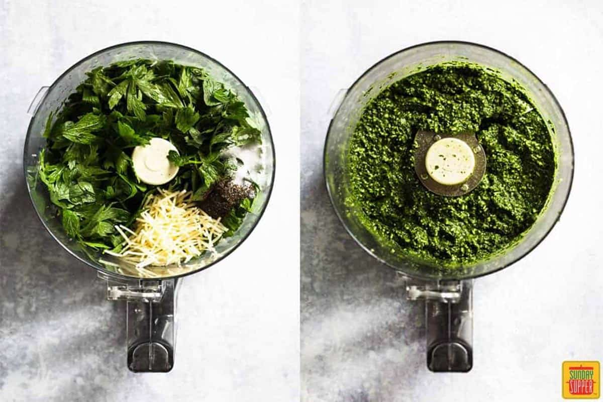 Two overhead photos of a food processor: on the left, the ingredients for the citrus pesto dip in the processor, and on the right, the ingredients after processing