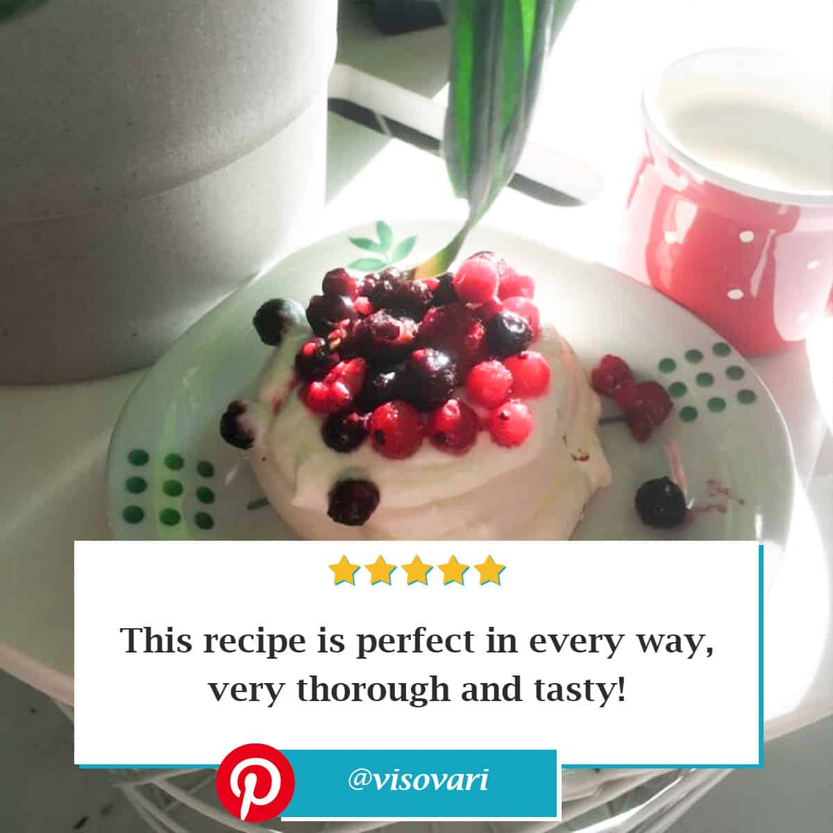 "Reviewer photo of the mini pavlova recipe on a white and green dish with berry topping and the text overlay: ""This recipe is perfect in every way, very thorough and tasty!"" with their Pinterest username: @visovari"