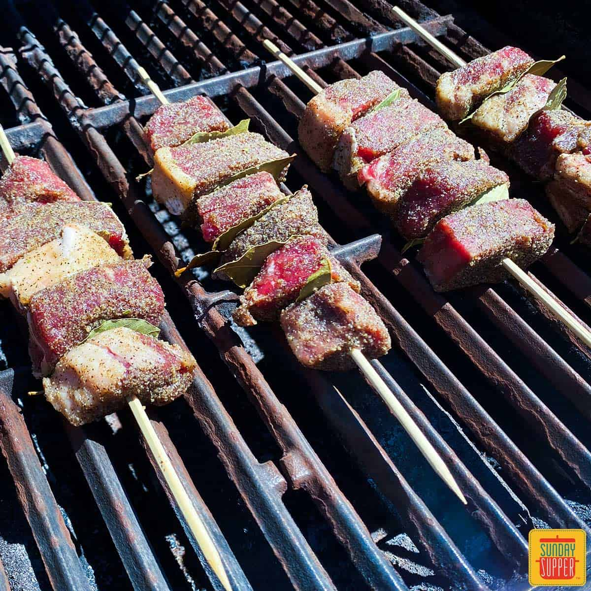 Espetadas Madeira on the grill (Portuguese beef skewers)