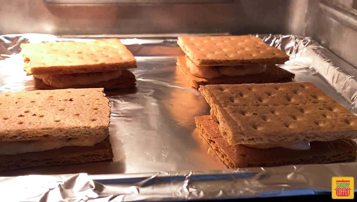S'mores recipe with the graham cracker on top in the air fryer