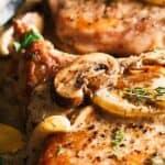 Pork chops with mushroom gravy pin image