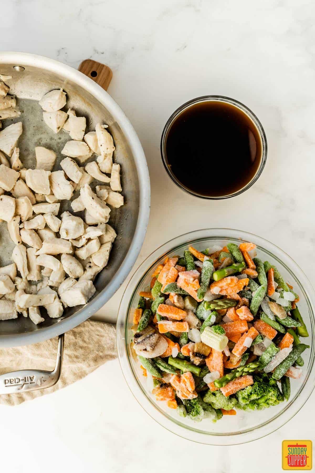 Ingredients to make 5-ingredient chicken stir-fry: chicken breast, teriyaki sauce, and frozen vegetables