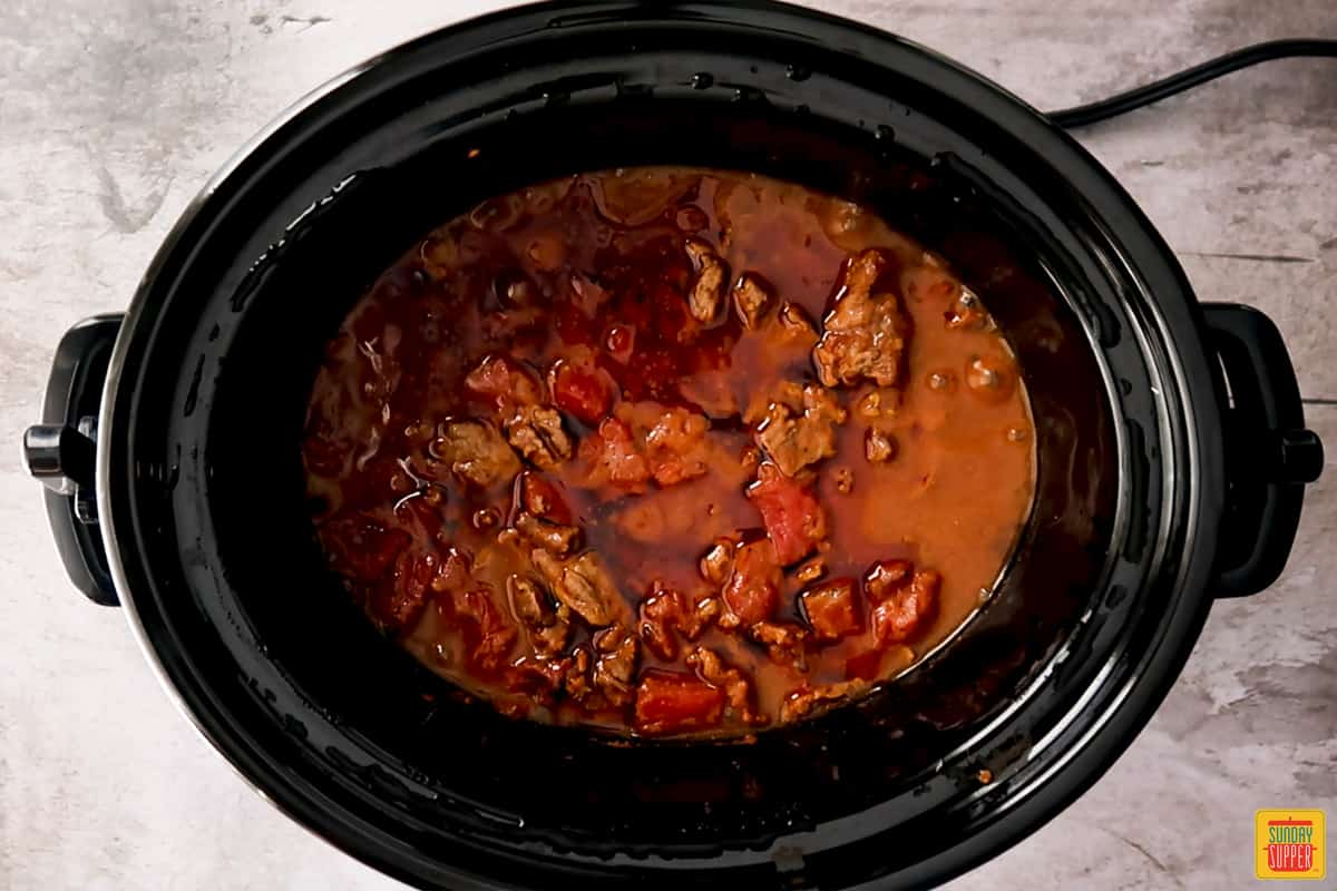 Carne picada in slow cooker after cooking