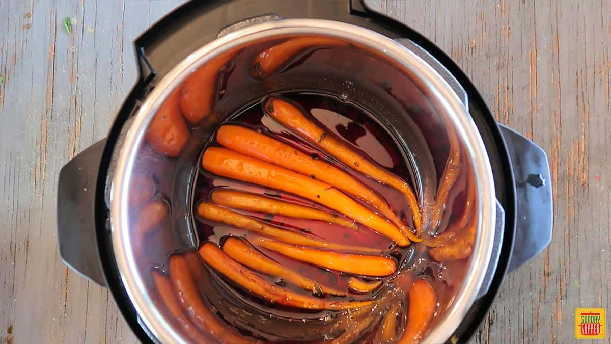 Candied Carrots in the instant pot after cooking