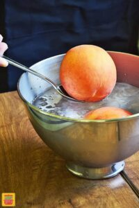 Adding a peach on a spoon to an ice water bath in a metal bowl
