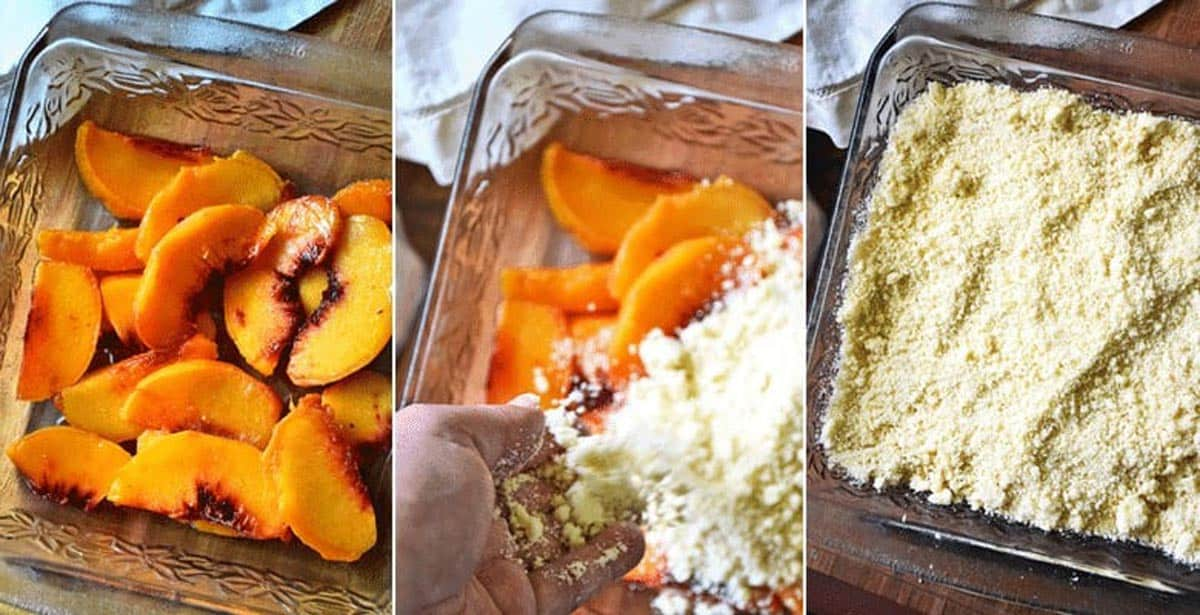 Three step-by-step images showing how to make peach cobbler with cake mix: peaches in a cake dish, topping with cake mix, and the cake mix evenly spread out