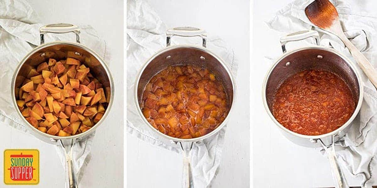 Three steps to making peach glaze: peaches in a pot, peaches cooking down, and peaches boiled all of the way down
