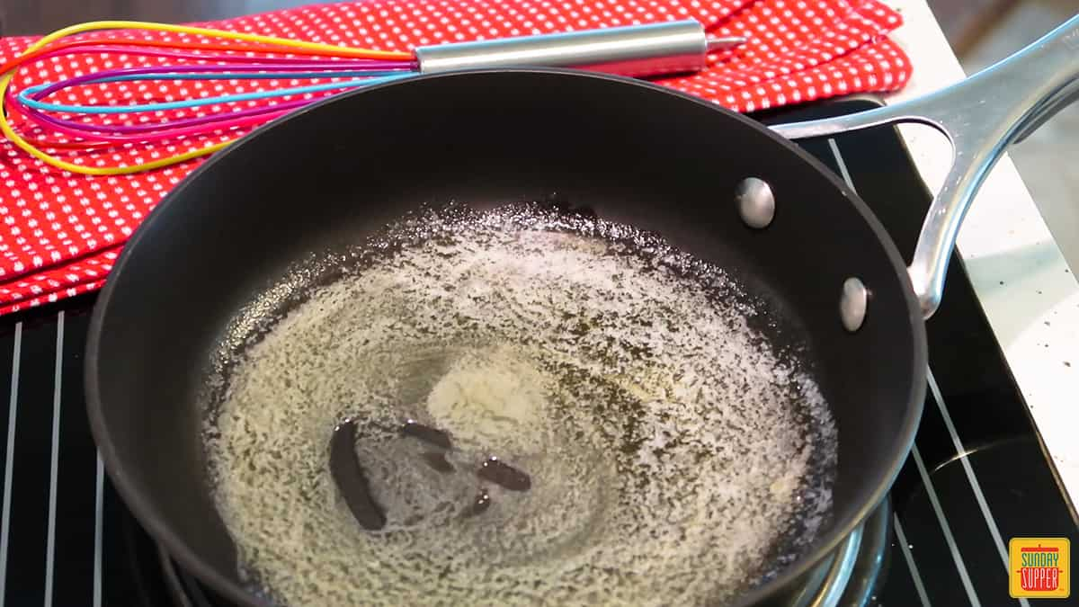 How to make a roux: melting butter in a pan