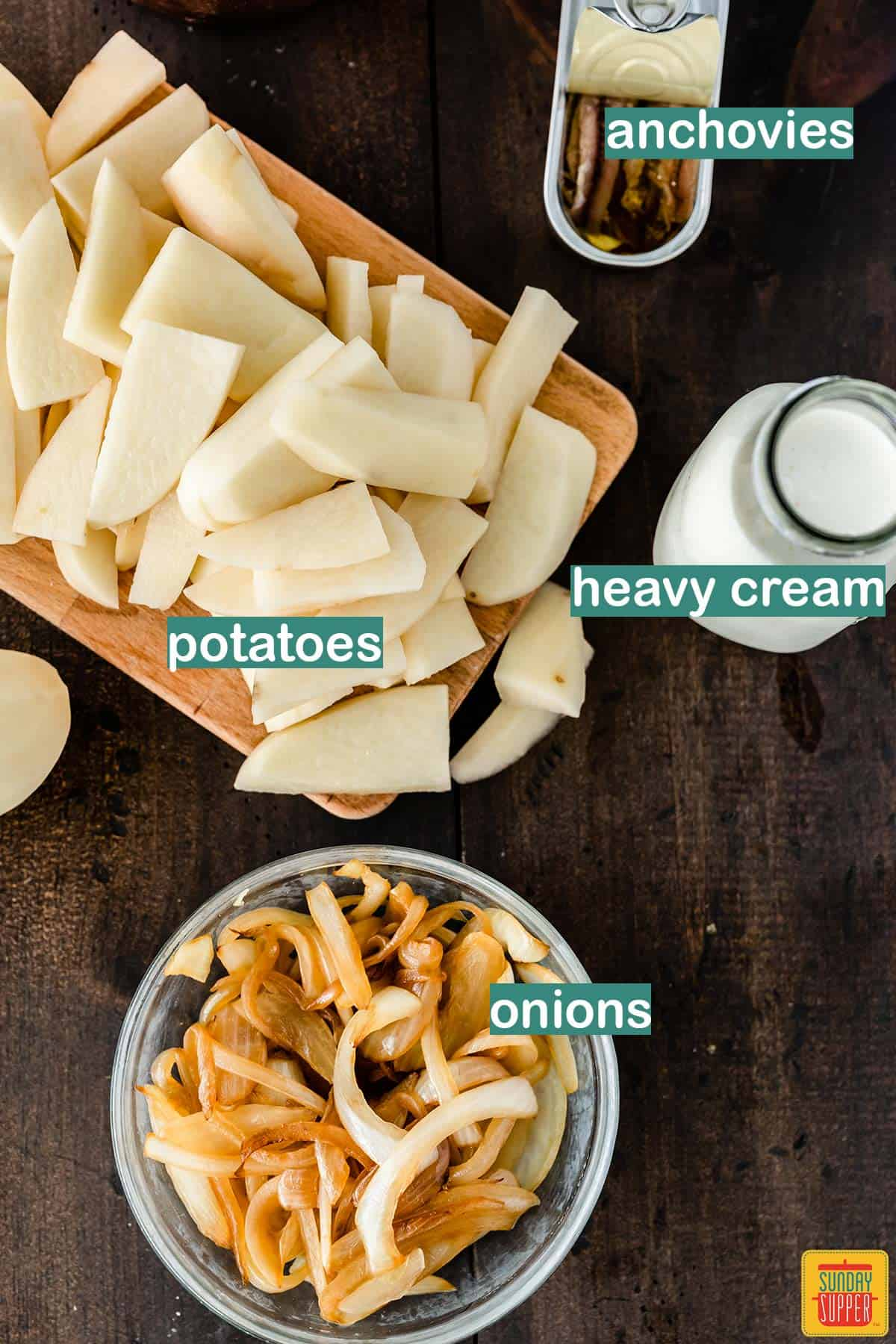 Ingredients to make Jansson's Frestelse labeled on a table