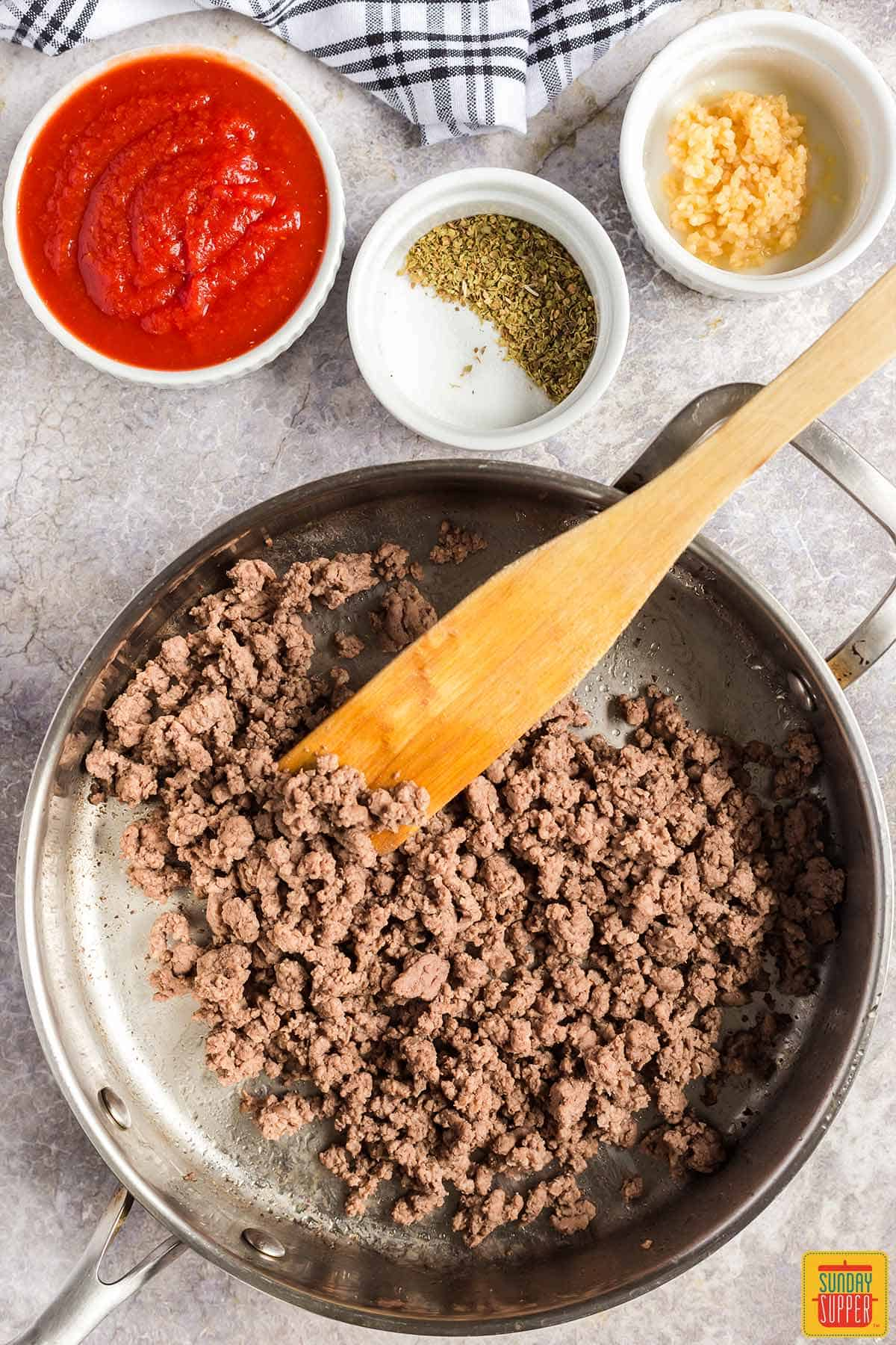 Cooking ground beef in a skillet