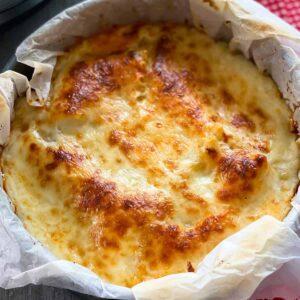 Close up of Instant Pot Lasagna in the springform pan