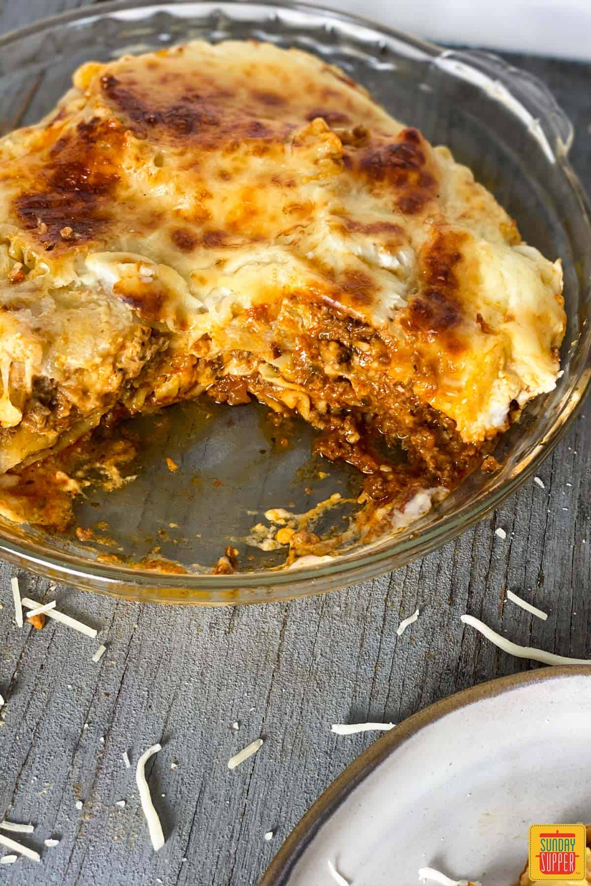 Close up of instant pot lasagna in a glass baking dish