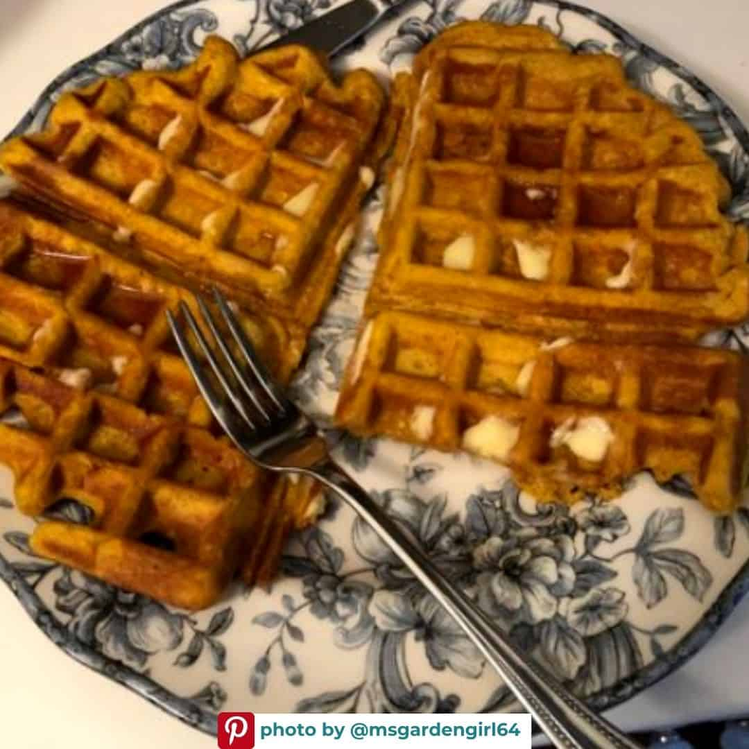 Pumpkin waffles on a plate with a fork - taken by pinterest user @msgardengirl64