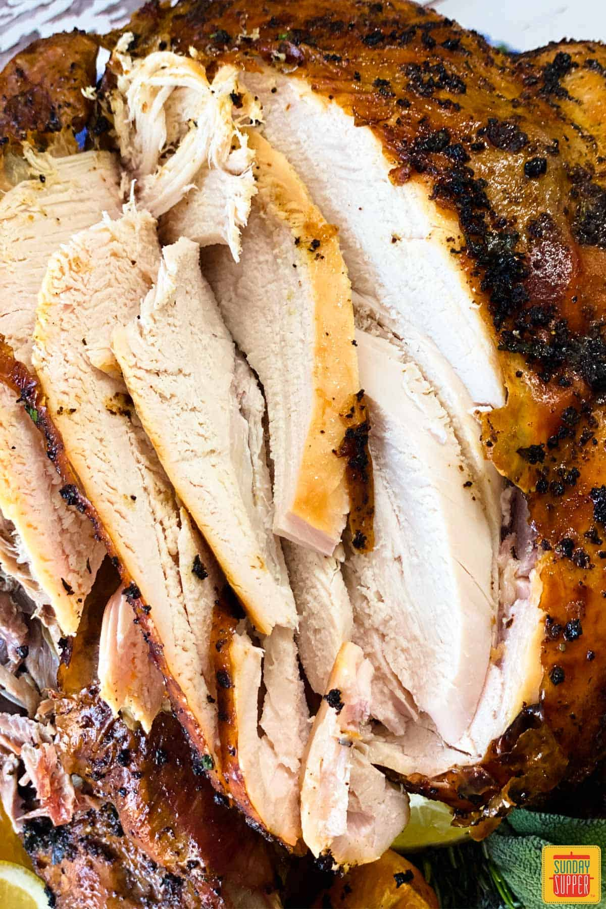 Slices of grilled turkey up close