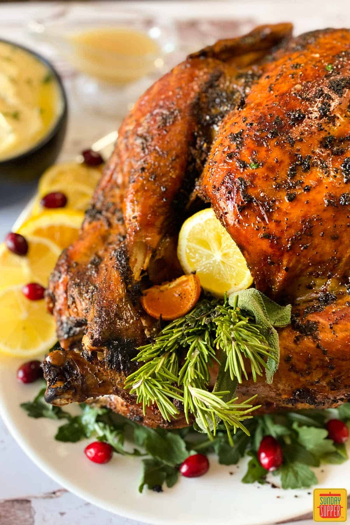 Close up of a grilled turkey on a platter stuffed with citrus and herbs