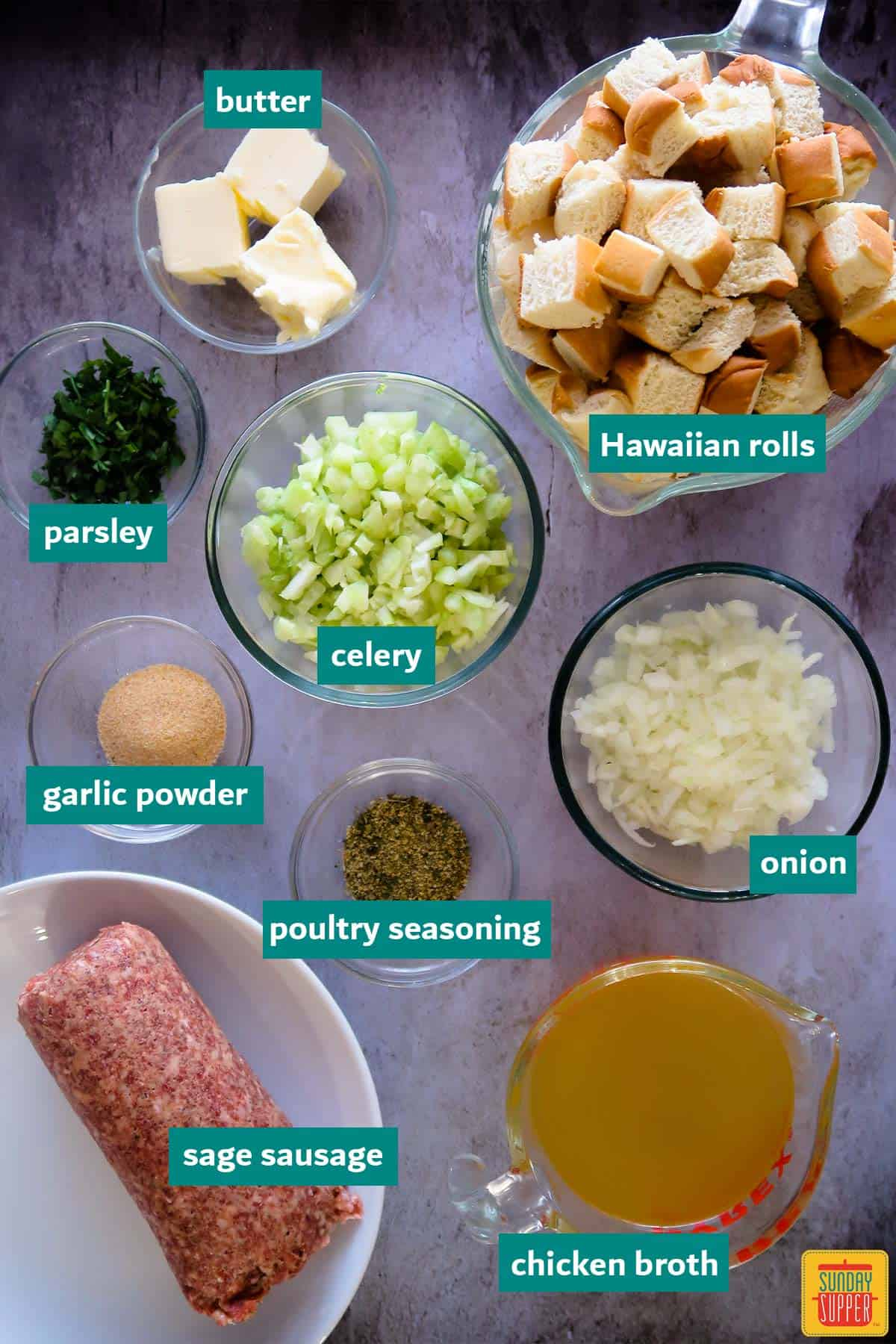 ingredients to make instant pot sausage sage stuffing labeled on a white surface
