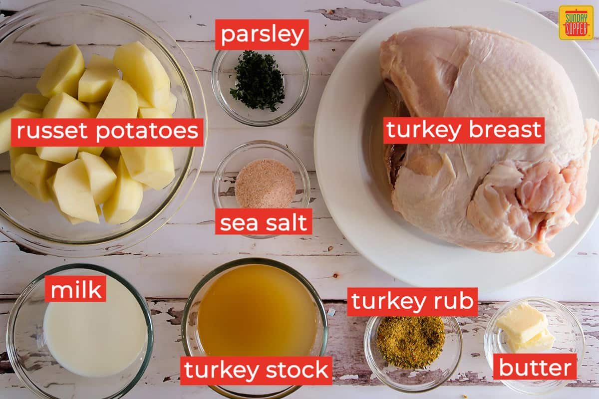 Instant pot turkey and potatoes ingredients labeled on a white surface