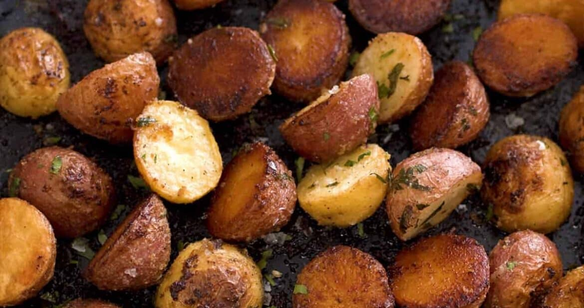 Roasted small potatoes in a skillet