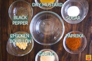 Seasonings for turkey rub labeled in glass bowls